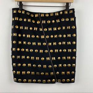 INC Black Studded Asymmetrical ZIP Mini Skirt NWT